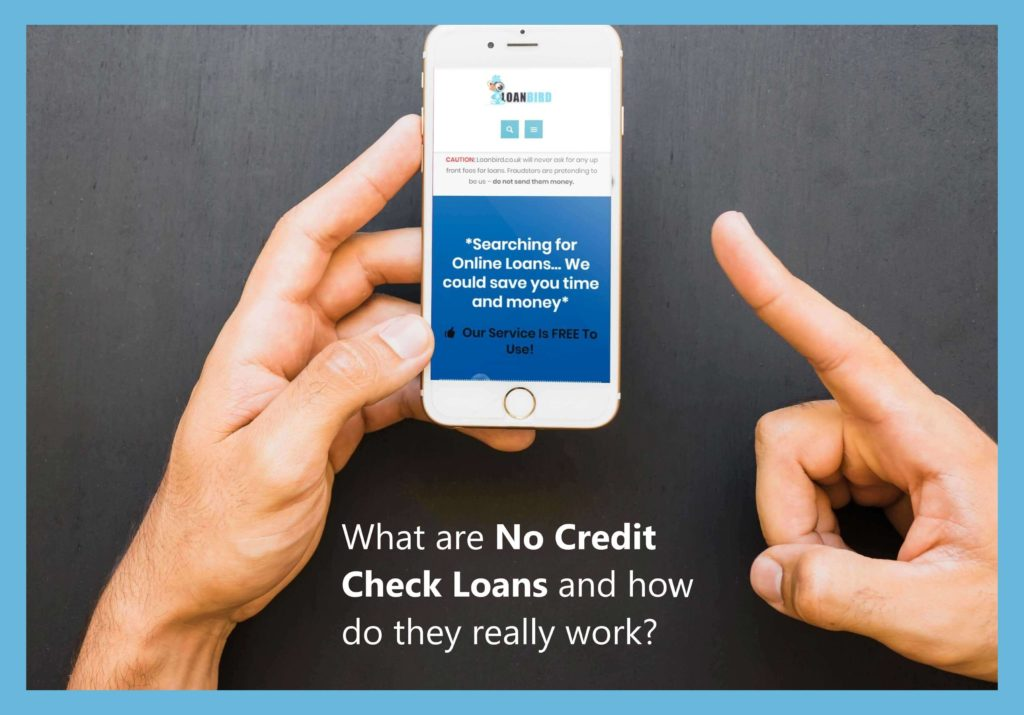 someone using a mobile to search what a no credit check loan is with LoanBird